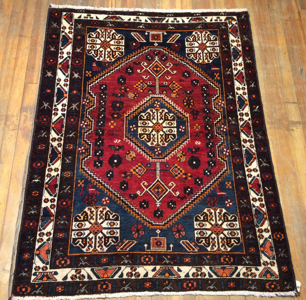 "Persian Sheriz S. Antique Rug  6'.6"" X 5'"