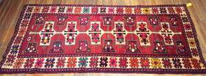 "Antique Nomadic Kazak Rug  9'.10"" X 4'.5"""