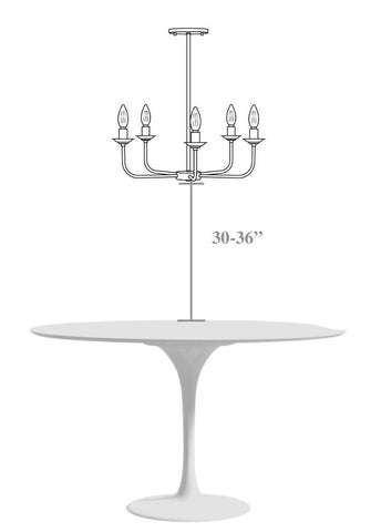 Hanging a chandelier above a table
