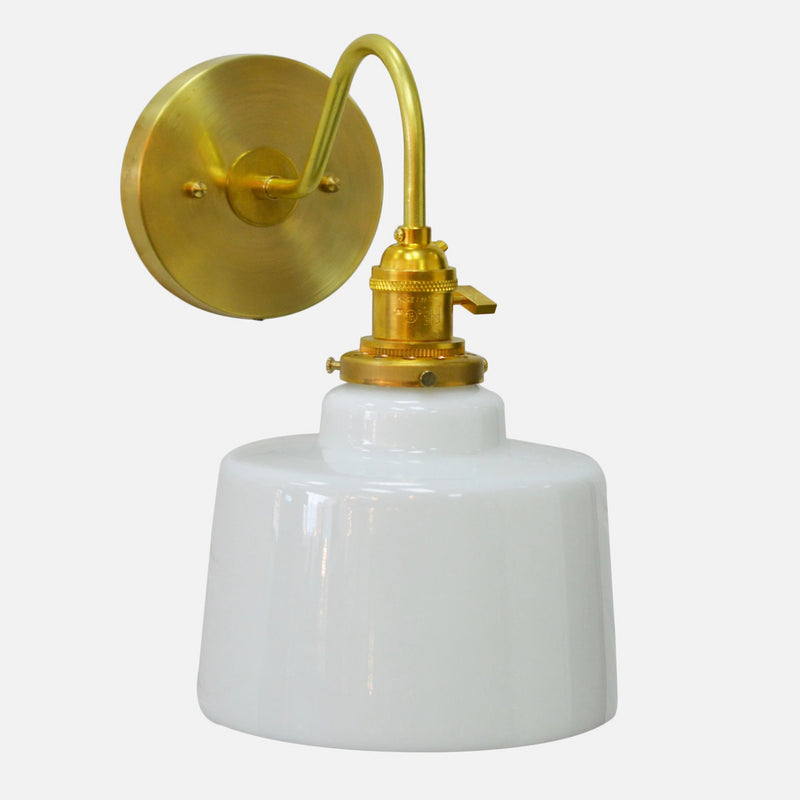 Brass Wall Sconce w/Opal Shade
