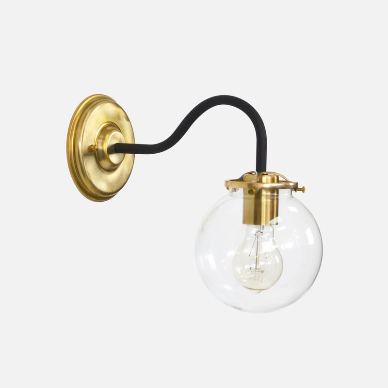 Brass and Black Bedside Sconce