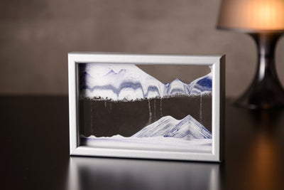 Picture of KB Collection Horizon Silver Sand Art with lamp- By Klaus Bosch sold by MovingSandArt.com