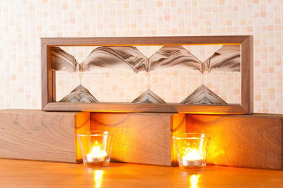 Picture of KB Collection Triple X Walnut Sand Art with candles- By Klaus Bosch sold by MovingSandArt.com