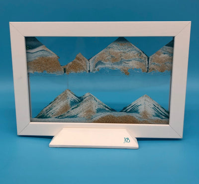 Picture of KB Collection Silhouette Blue Ocean Sand Art on blue- By Klaus Bosch sold by MovingSandArt.com