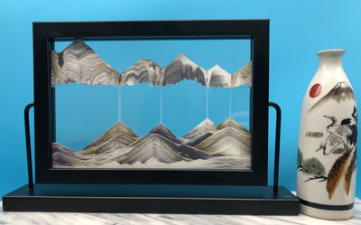 Picture of KB Collection Window Black Sand Art with vase- By Klaus Bosch sold by MovingSandArt.com