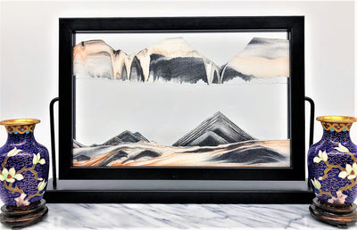 Picture of KB Collection Landscape Black Sand Art with vases- By Klaus Bosch sold by MovingSandArt.com