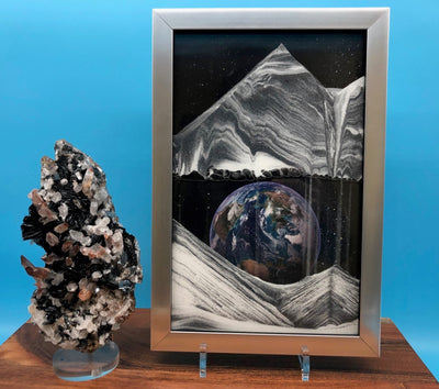 Picture of KB Collection Movie Series Wall Mount Apollo Earth Sand Art vertical with quartz- By Klaus Bosch sold by MovingSandArt.com