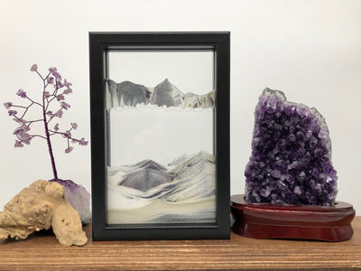 Picture of KB Collection Horizon Black Sand Art with amethyst (Vertical)- By Klaus Bosch sold by MovingSandArt.com
