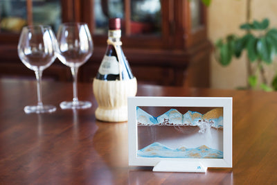 Picture of KB Collection Silhouette Blue Ocean Sand Art with wine- By Klaus Bosch sold by MovingSandArt.com