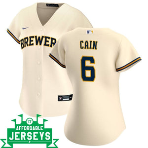 Lorenzo Cain Home Women's Nike Replica Player Jersey - AffordableJerseys.com