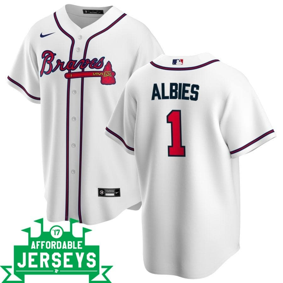 Ozzie Albies Home Nike Replica Player Jersey - AffordableJerseys.com