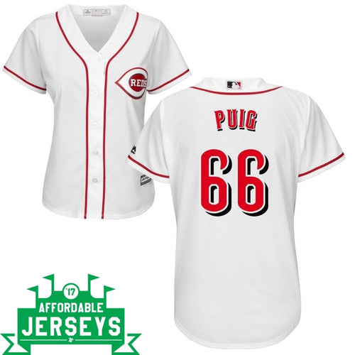Yasiel Puig Home Women's Cool Base Player Jersey - AffordableJerseys.com