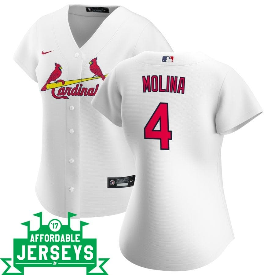 Yadier Molina Home Women's Nike Replica Player Jersey - AffordableJerseys.com