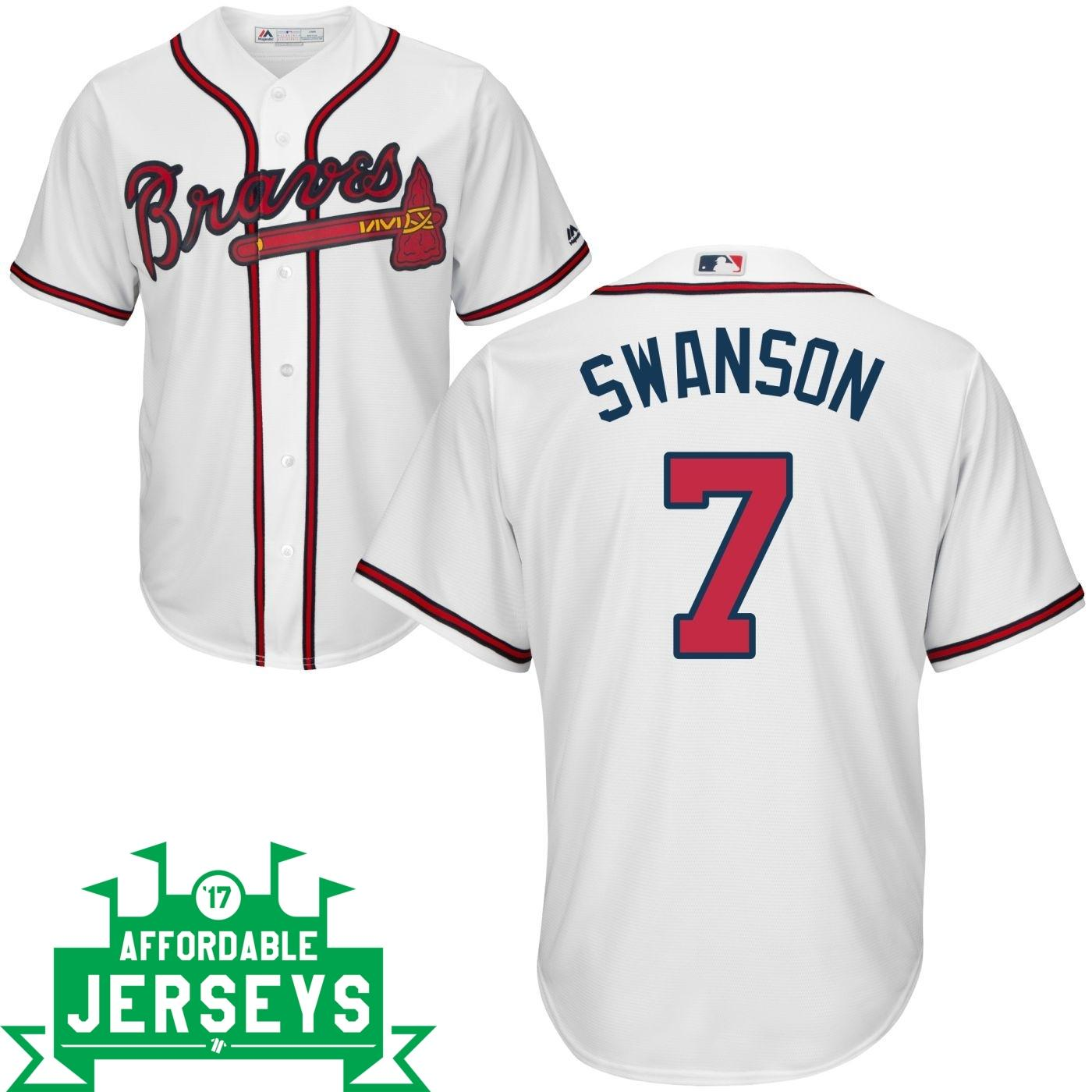 Dansby Swanson Home Cool Base Player Jersey - AffordableJerseys.com