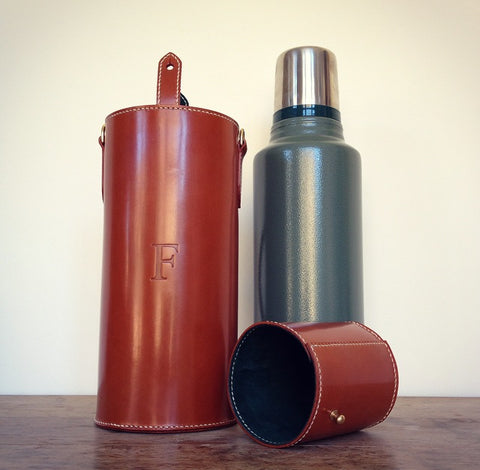 Bridle leather flask case