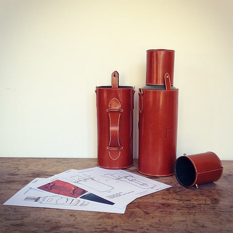 Bespoke leather flask, leather embossing