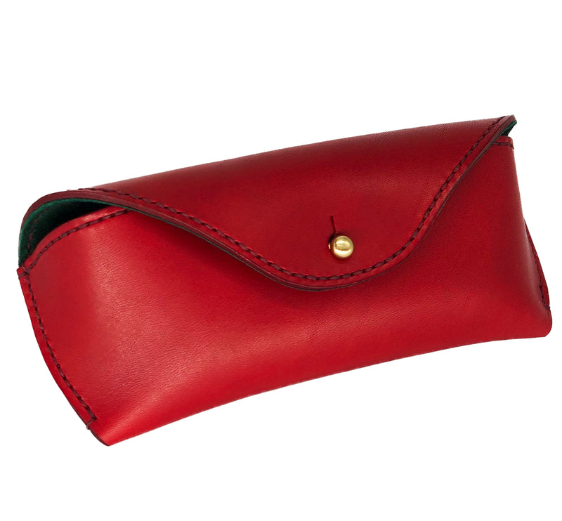 Red leather eyewear case