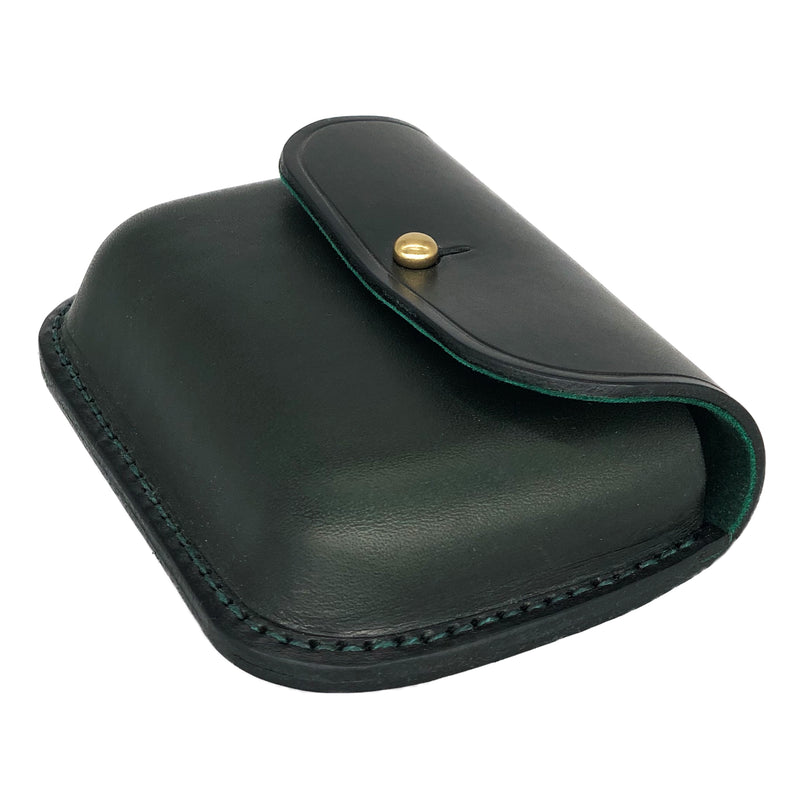 Green leather change purse