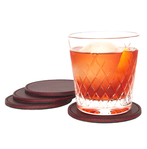 Bespoke leather cocktail coasters