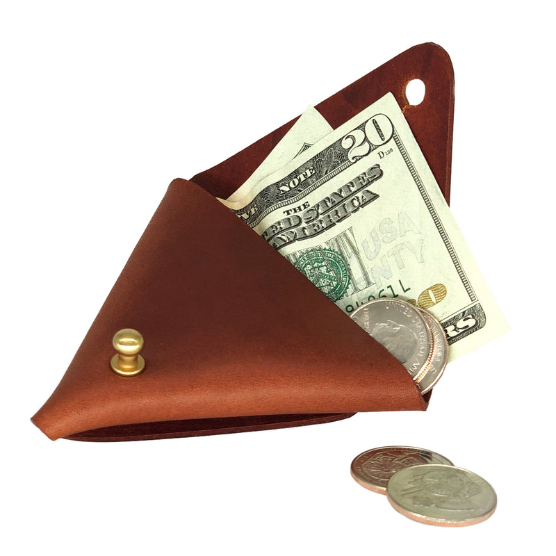 Leather triangle leather pouch