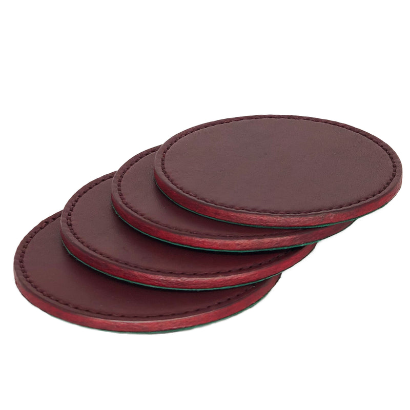 English bridle leather coasters