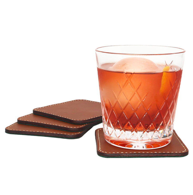 Square leather cocktail coasters