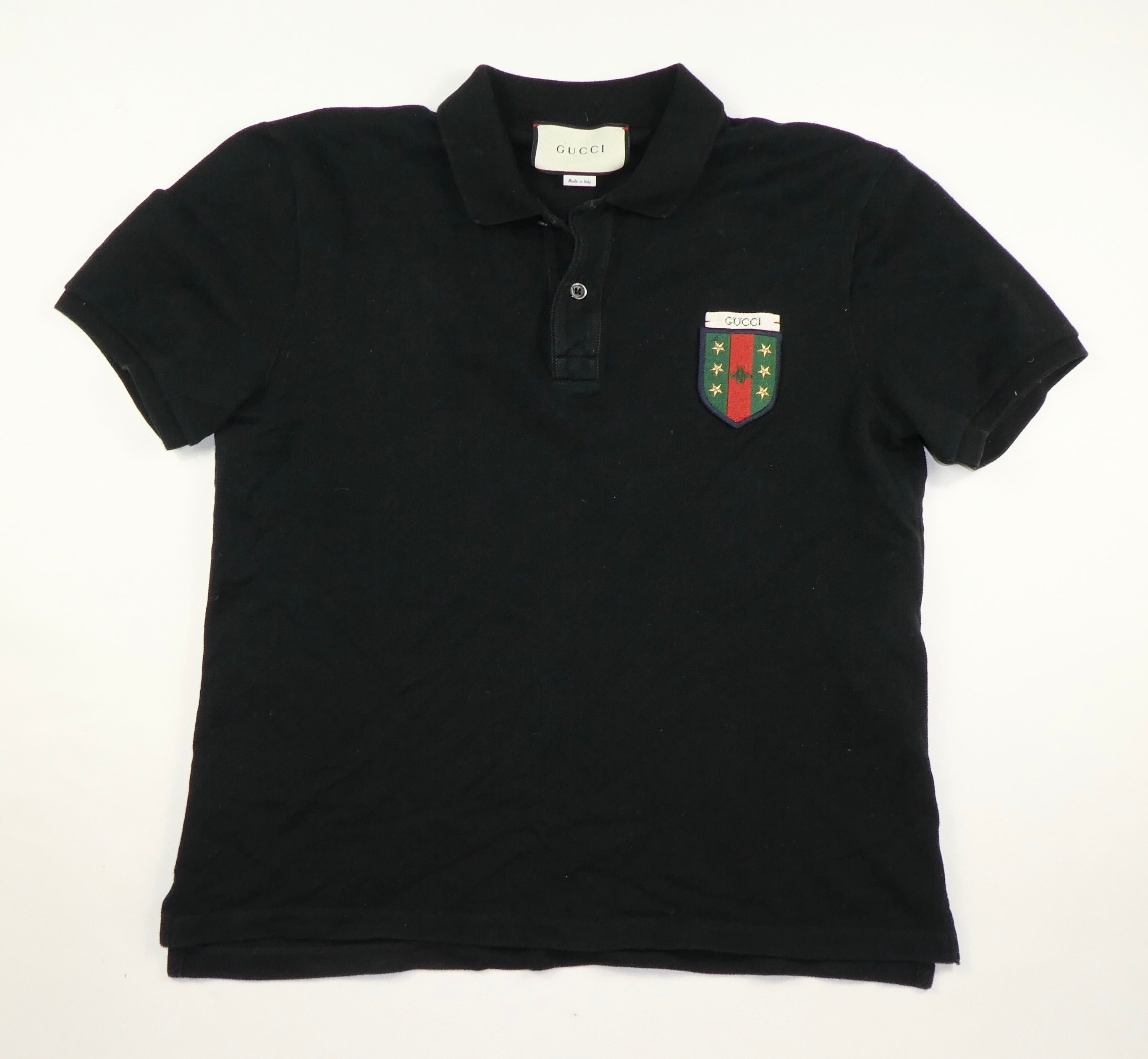 Gucci Crest Polo Shirt (Black) - Large