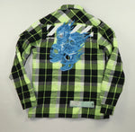 Off White Zip Up Flaming Skulls Check Shirt - XS