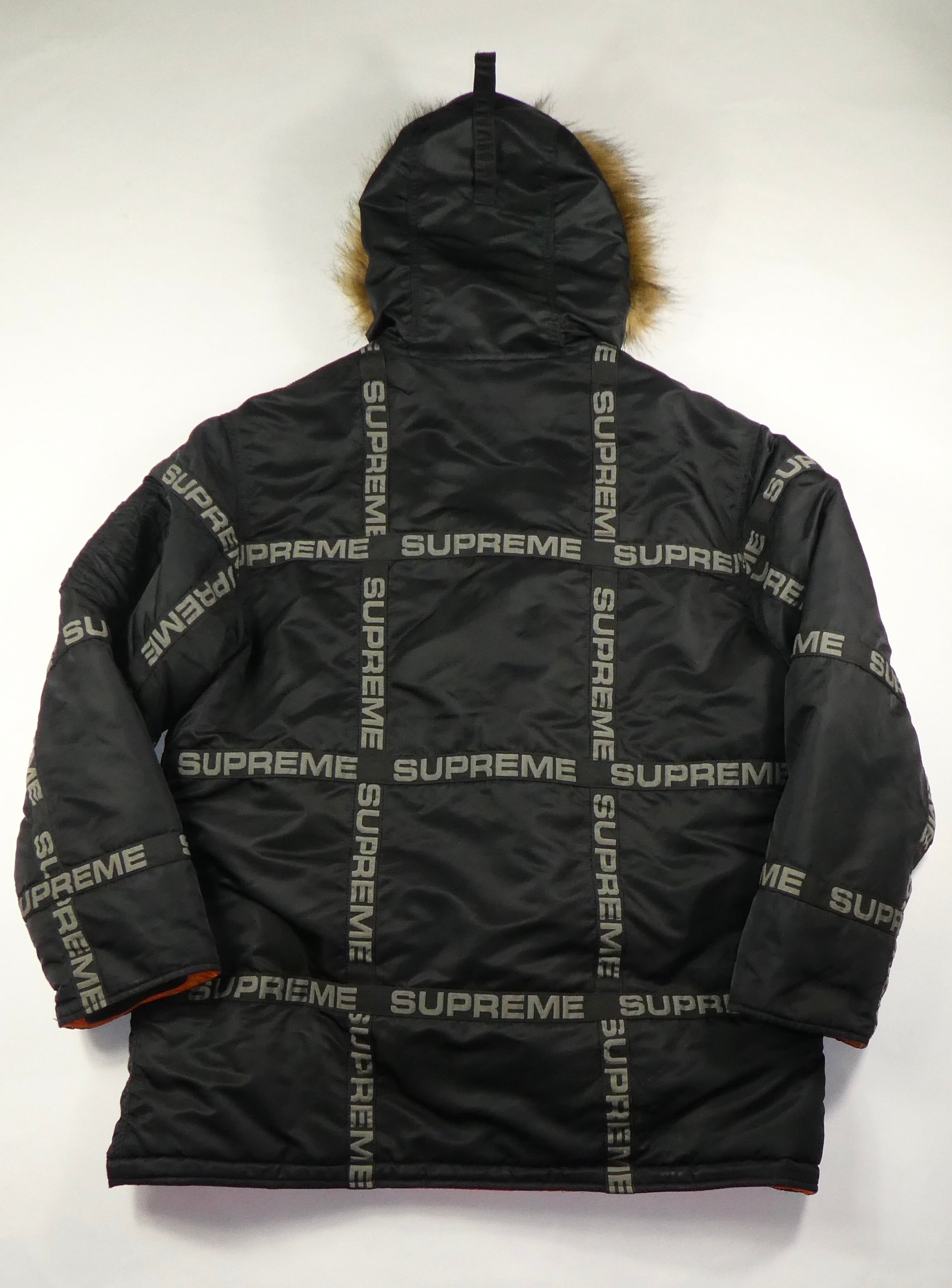 Supreme Tape Logo Faux Fux Parka Jacket - Medium