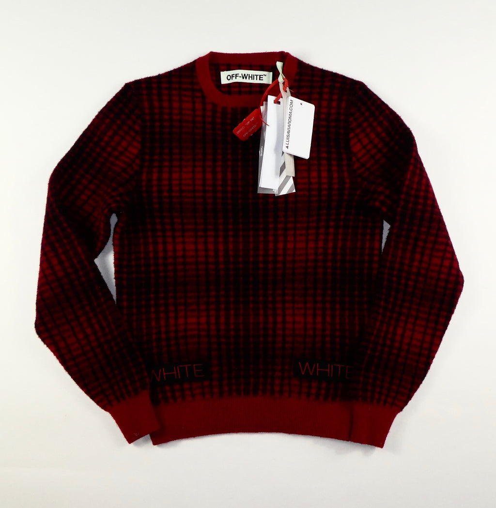 Off White Check Knit Jumper - XS