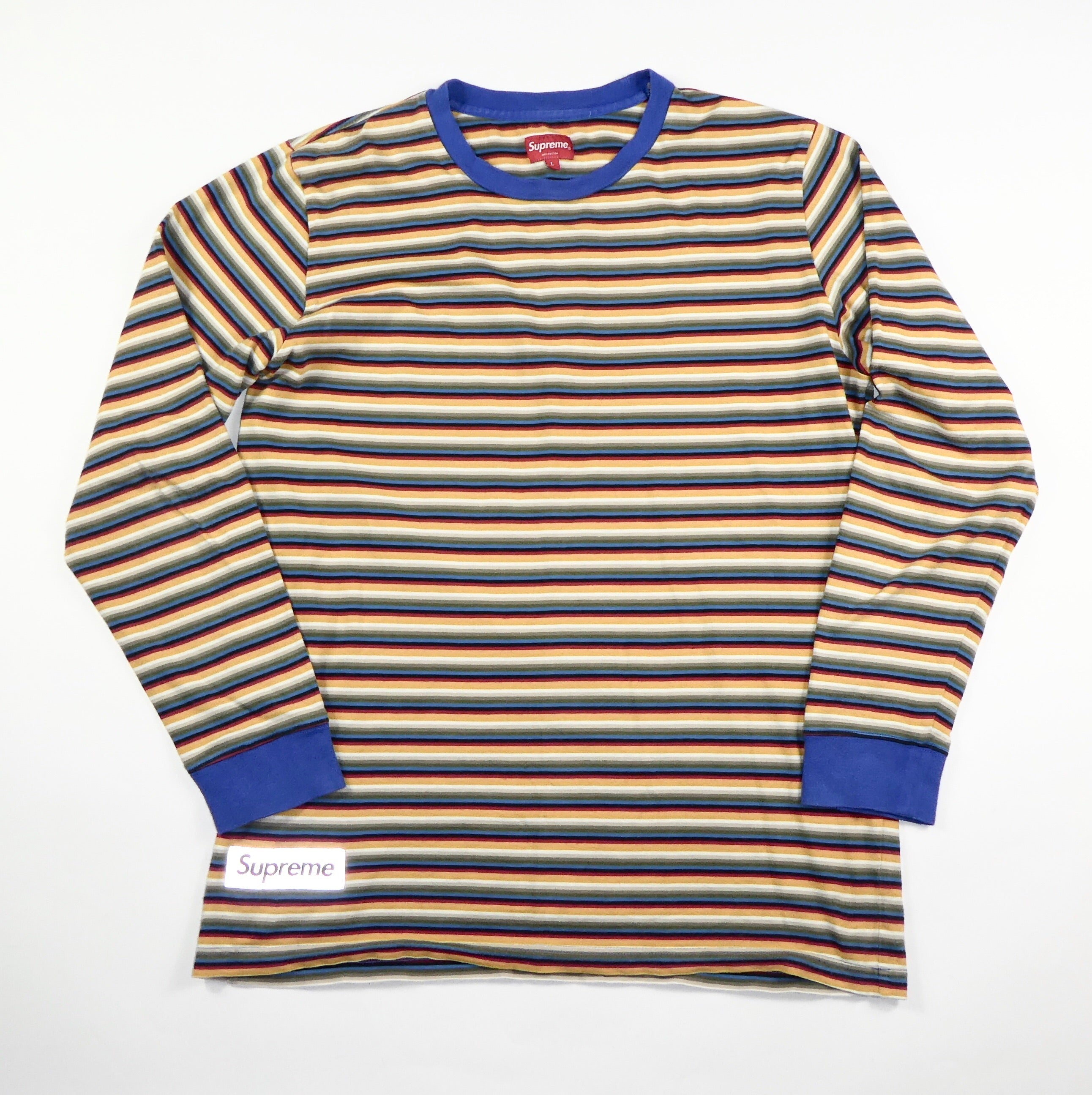 Supreme Striped 3m Logo Longsleeve