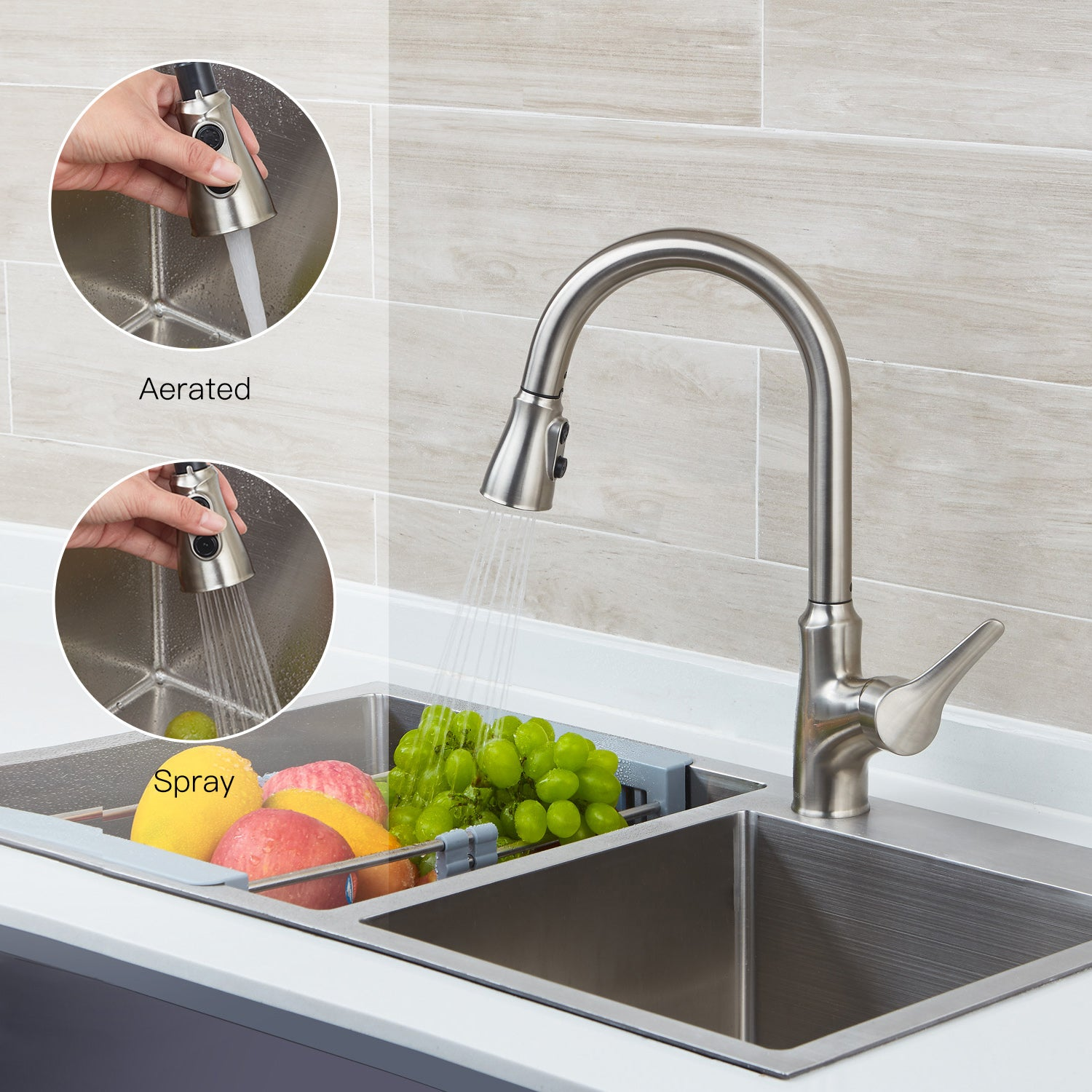 Smart touch kitchen faucets with pull down sprayer