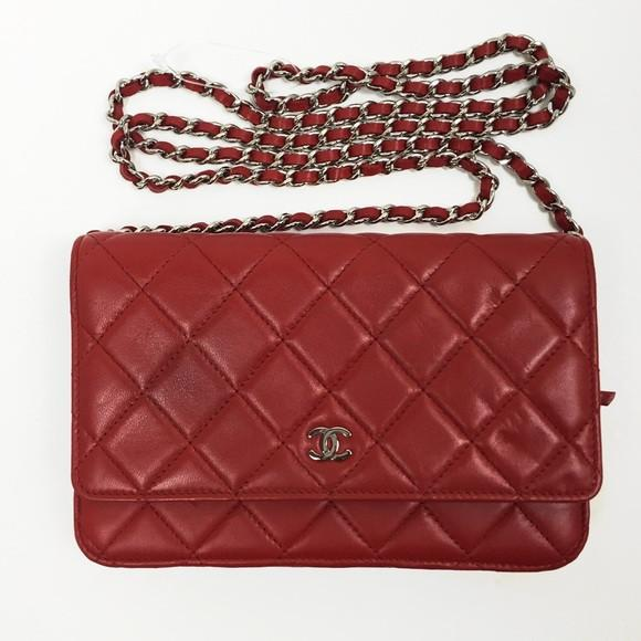 afe343a3bfcd Image is loading Chanel-Classic-Timeless-Quilted-Red-Chain-Clutch-2100