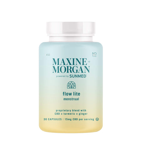Maxine and morgan powered by sunmed flow lite formula 30 capsules 15mg cbd per serving nd thc sunmed flow lite proprietary blend with cbd turmeric ginger at your cbd store spring