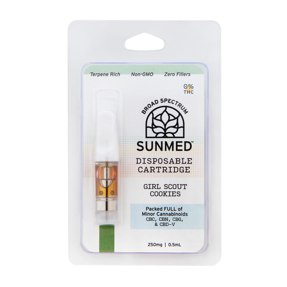 Your CBD Store Girl scout cookies disposable Vape cartridge. Sunmed broad spectrum Vape products