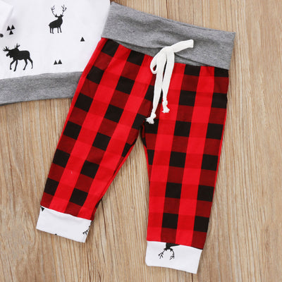 Hooded Animal Top With Flannel Sleeves And Pants