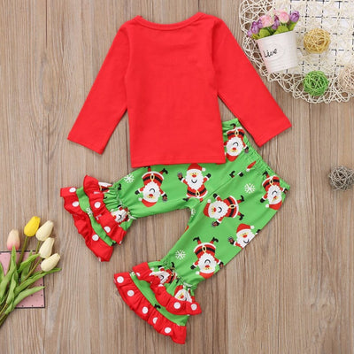 Little Miss Naughty Or Nice List Christmas Top & Flared Out Pants