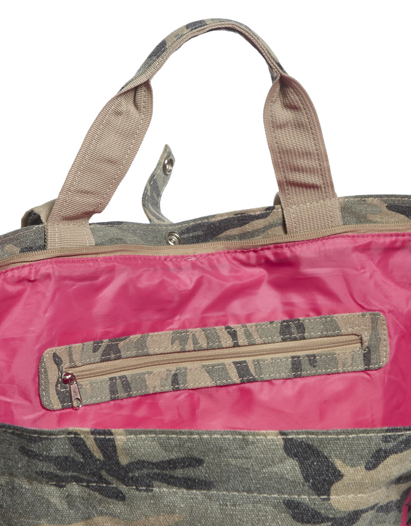 shopper with zipper inside camouflage