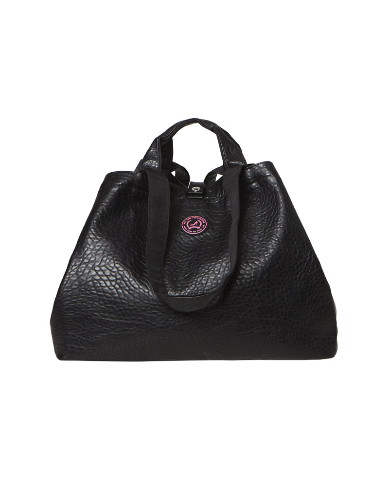 shopper black with zipper croco small
