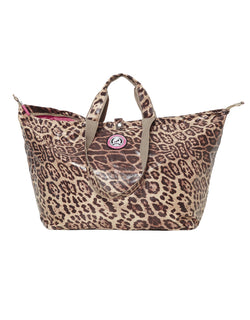 shopper bag with zipper leopard small