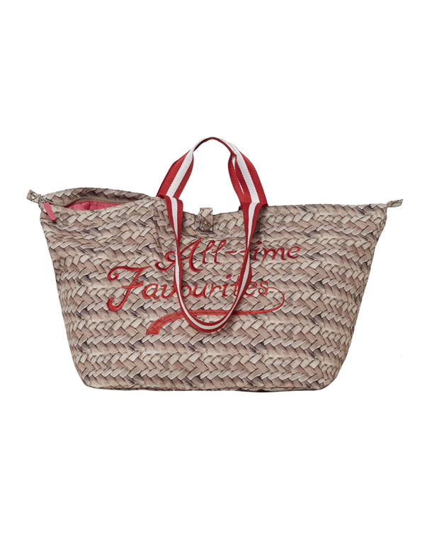 Kleine shopper met rits straw print rood All-time Favourites