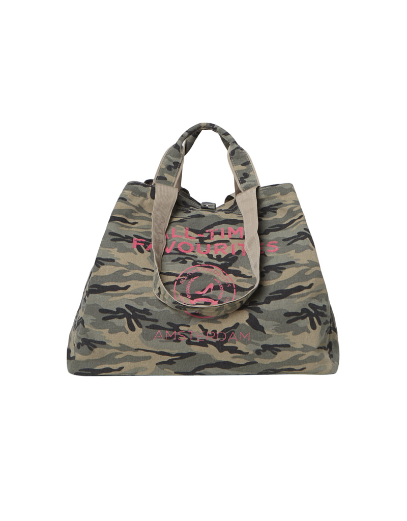 beach bag with zipper army print