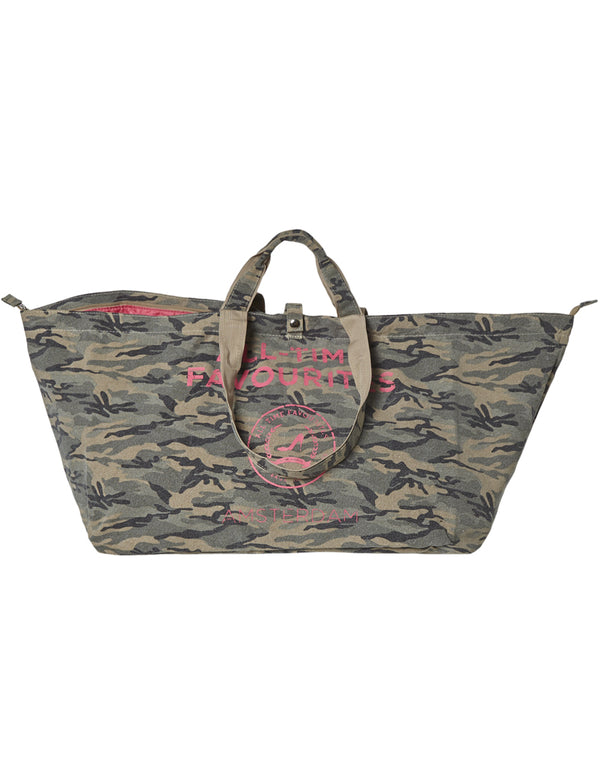 Large shopper with zipper camouflage
