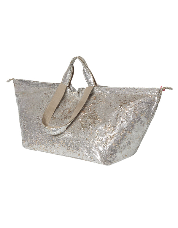 big shopper zipper sequin silver