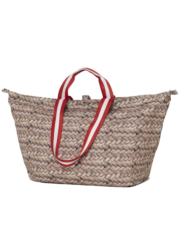 small beach bag shopper with straw red zipper