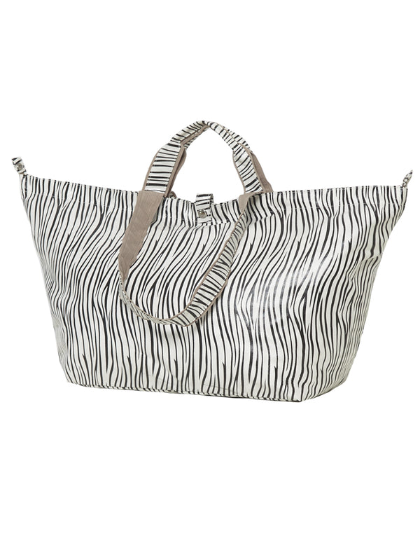 shopper with zipper small zebra
