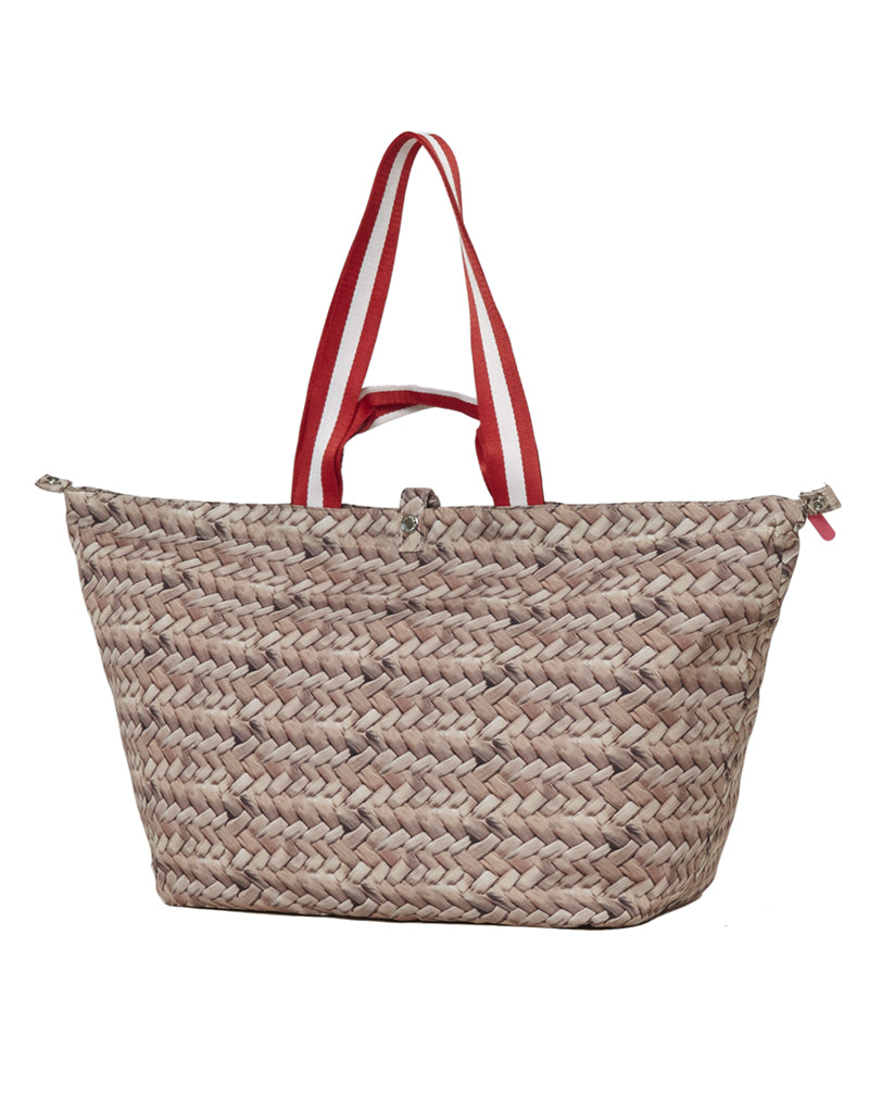 kleine strandtas shopper straw red