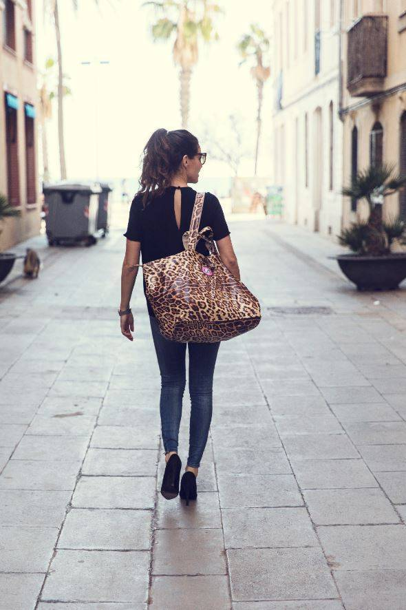 small shopper leopard leopard print bag