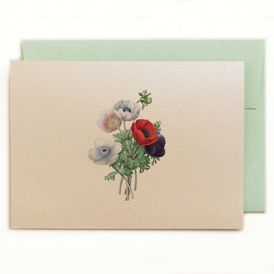 Lilybranch's Anenome Notecard with green ledger recycled envelope