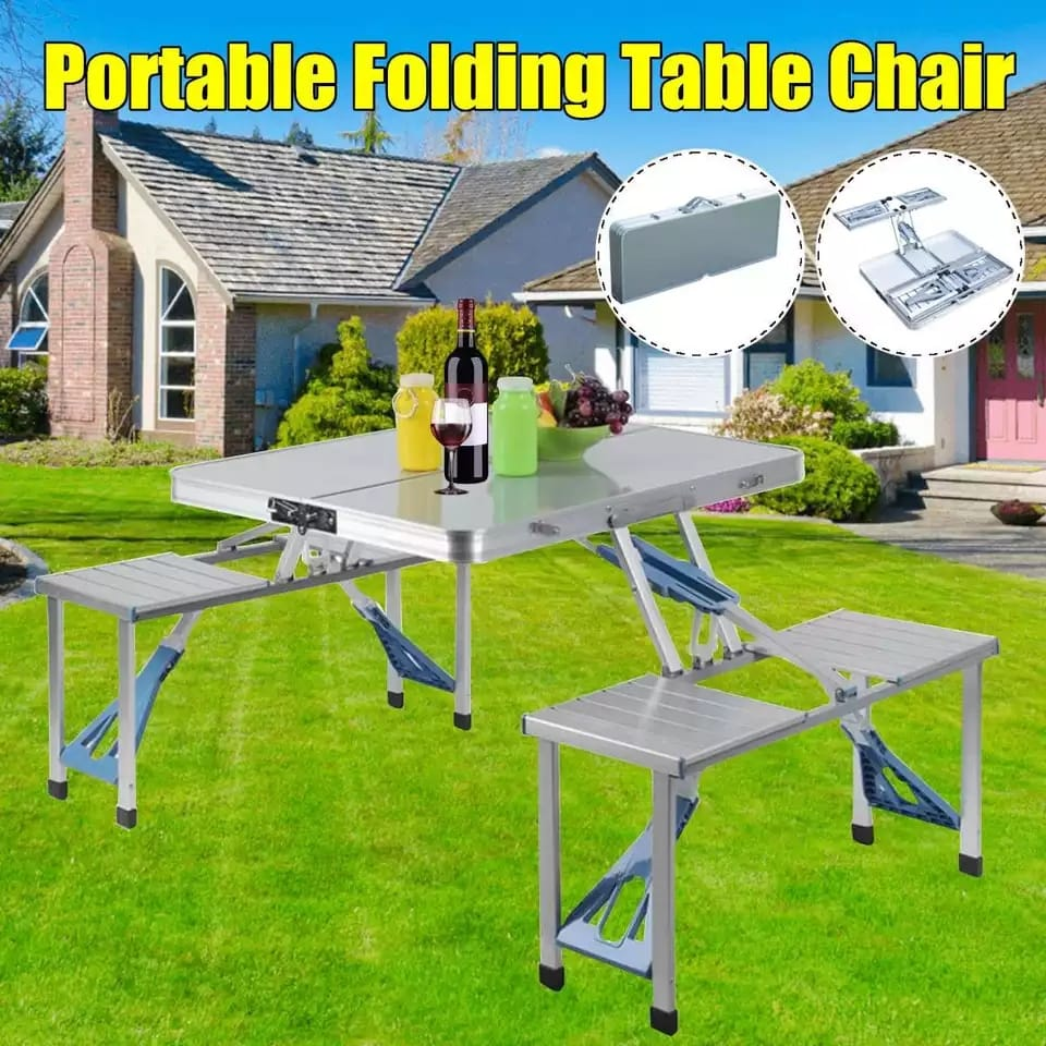 Aluminium Portable Folding Table Chair With Umbrella